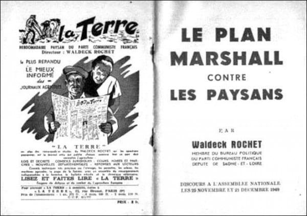 Plan Marshall contre Paysans : janvier 1950 La Terre journal hebdomadaire Parti communiste français monde rural.