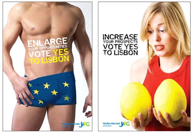 UE PORNOGRAPHIE Panneau érotique campagne YFG de 2008 Homme Avec l'invention grotesque de « Captain Europe », la propagande européiste prouve qu'elle est aux abois