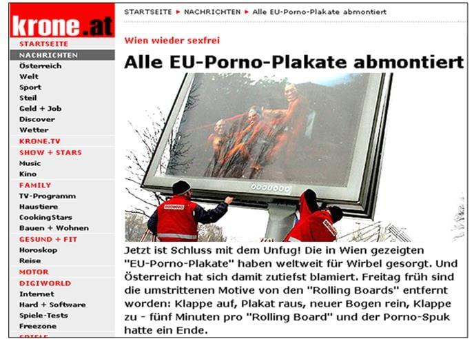 UE PORNOGRAPHIE Panneau pornographique pour présidence autrichienne de 2006 démonté Avec l'invention grotesque de « Captain Europe », la propagande européiste prouve qu'elle est aux abois