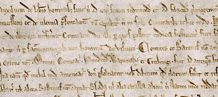 Détail de la Magna Carta Libertatum conservé à la British Library