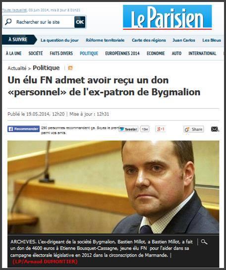 France, Un élu FN admet avoir reçu un don «personnel» de l'ex-patron de Bygmalion