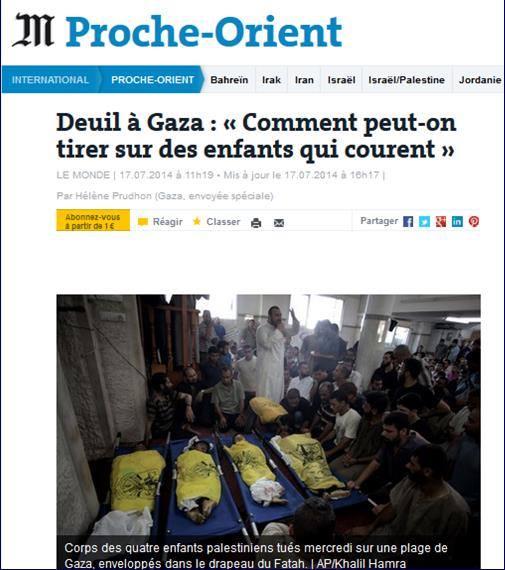 le journal Le Monde rend compte d'un nouveau carnage parmi des enfants à Gaza