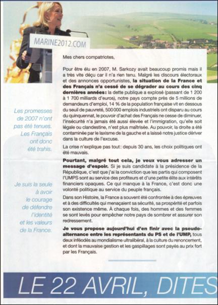 profession de foi de Mme Le Pen 2