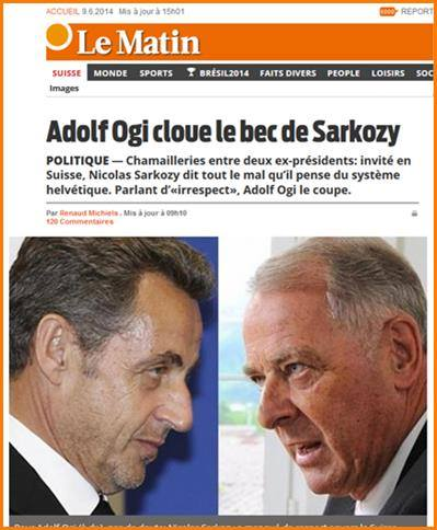 SARKOZY REMIS À SA PLACE SUISSES ADOLF OGI